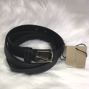 Burberry Black Barlow Leather Belt New with tags